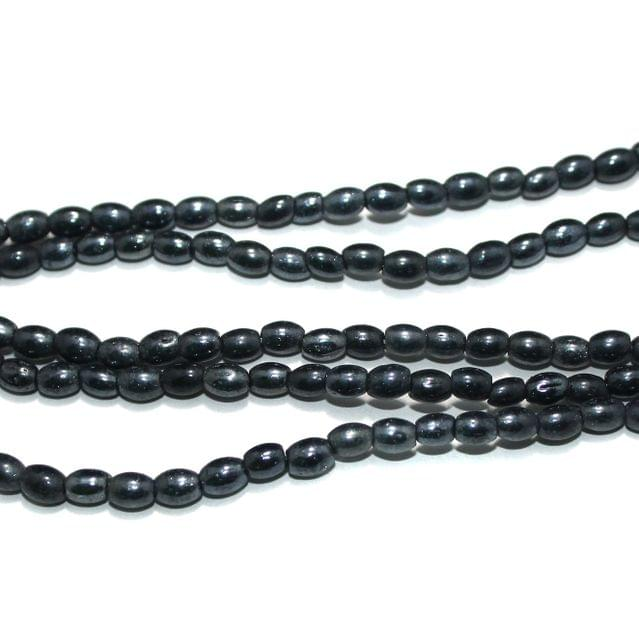 Fire Polish Glass Beads Oval Black 6x4 mm, Pack Of 5 Strings