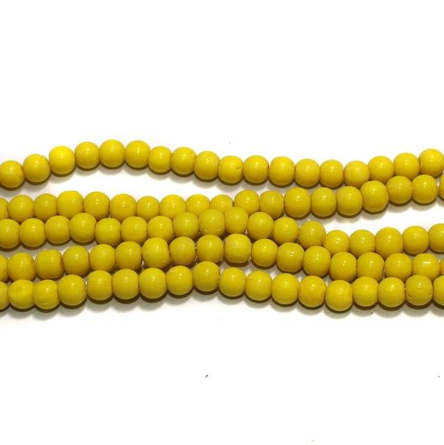 Round Glass Beads Yellow 6 mm, Pack Of 5 Strings