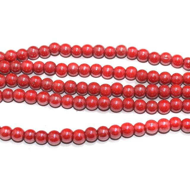 Round Glass Beads Red 8 mm, Pack Of 5 Strings