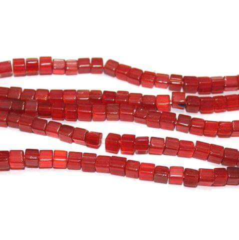Cube Glass Beads Red 4 mm, Pack Of 5 Strings