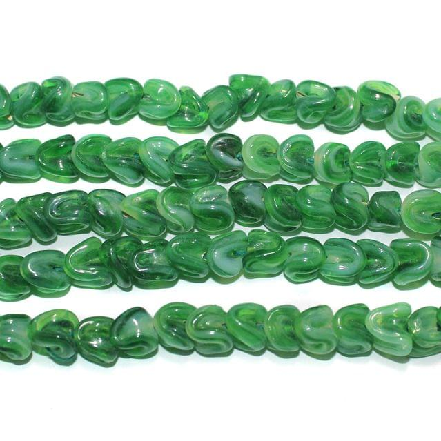 Glass Beads Twisty Green 10mm, Pack Of 5 Strings