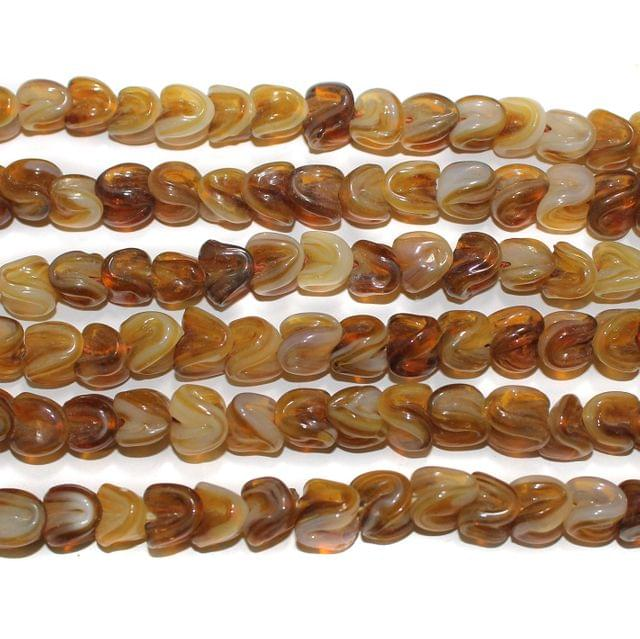 Glass Beads Twisty Brown 10mm, Pack Of 5 Strings