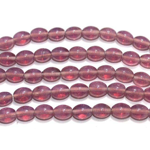 Glass Beads Oval Purple 10x8mm, Pack Of 5 Strings