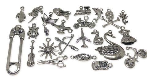 Jewelry Mini Pendant Alloy Craft Charms Mixed Size Mix of 25 Shapes Antique Silver Color (Pack of 25 pieces)