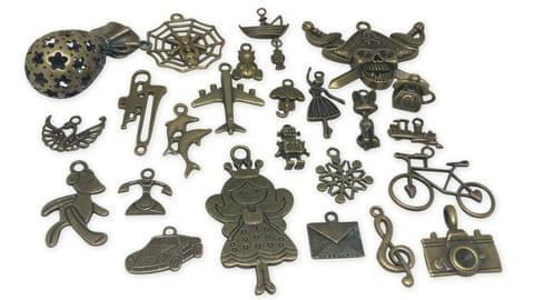 Jewelry Mini Pendant Alloy Vintae Craft Charms Mixed Size Mix of 25 Shapes Antique Bronze Color (Pack of 25 pieces)