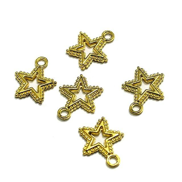 German Silver Star Charms Golden, Pack of 45 Pcs