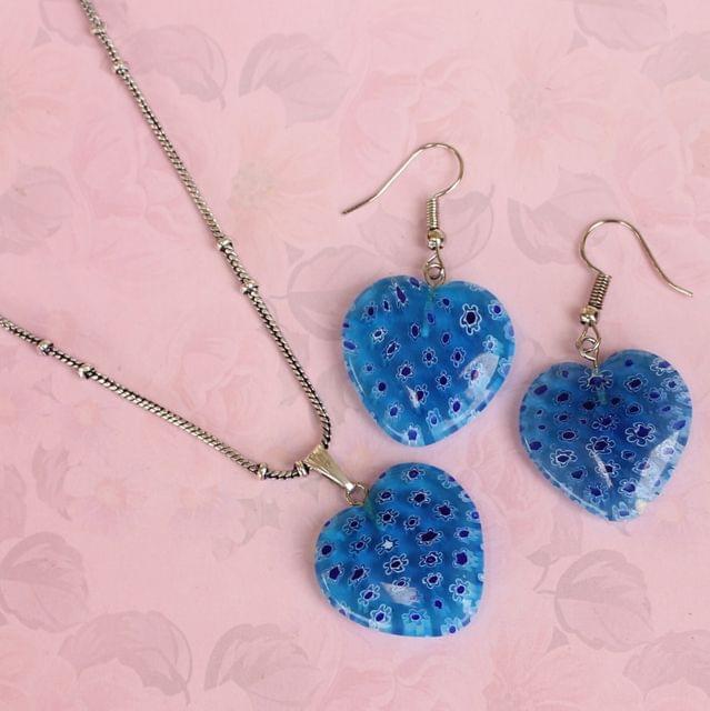 Milifiori Turquoise Heart Pendant Set