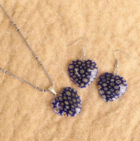 Milifiori Blue Heart Pendant Set