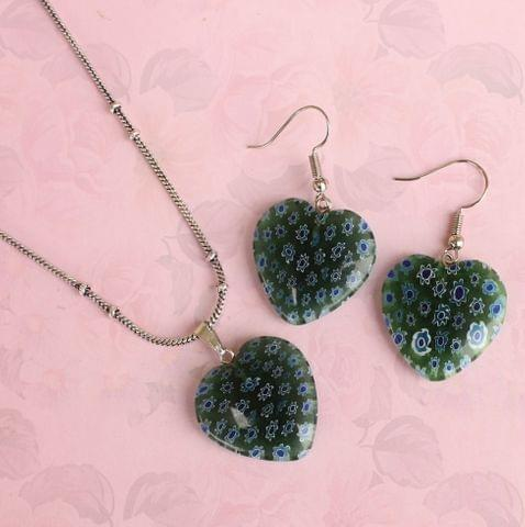Milifiori Green Heart Pendant Set