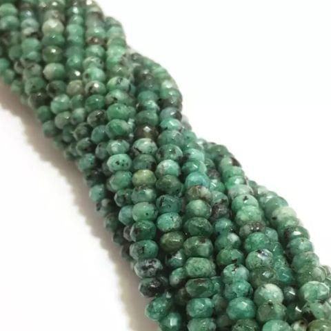 Agate Beads Turquoise Green Color Rondelle Faceted Size 4MM, 3 Strings