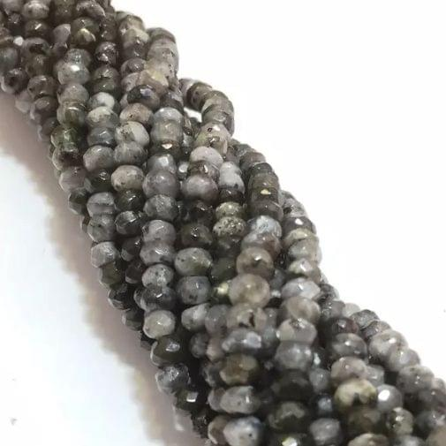 Agate Beads Gray Color Rondelle Faceted Size 4MM, 2 Strings