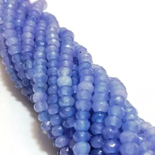 Agate Beads Aqua Blue Color Rondelle Faceted Size 4MM, 2 Strings
