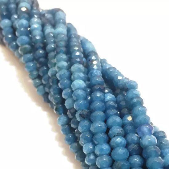 Agate Beads Sea Blue Color Rondelle Faceted Size 4MM, 2 Strings