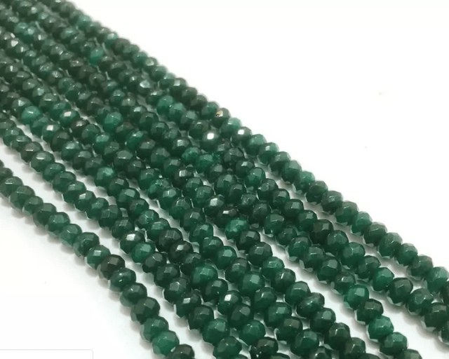 Agate Beads Dark Green Color Rondelle Faceted Size 4MM, 2 Strings