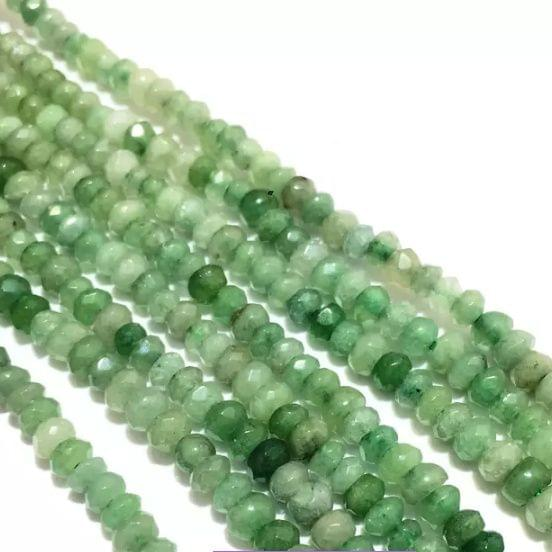 Agate Beads Green Color Rondelle Faceted Size 4MM, 2 Strings