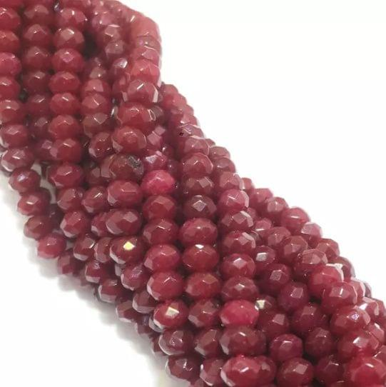 Agate Beads Meroon Color Rondelle Faceted Size 4MM, 2 Strings