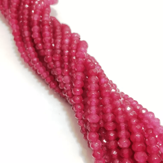 Agate Beads Pink Color Rondelle Faceted Size 4MM, 2 Strings