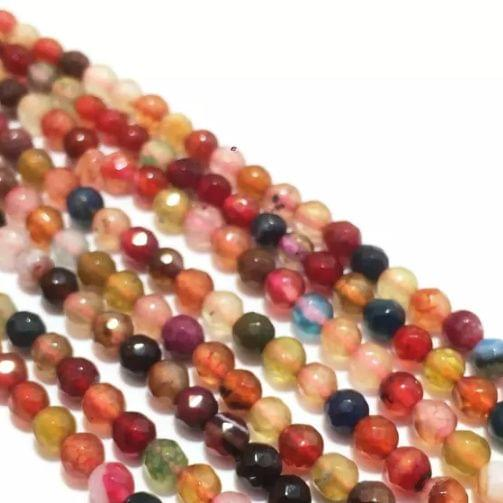 Agate Beads Multi Color Round Faceted Size 4MM, 2 Strings