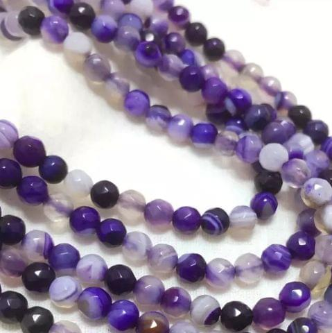 Agate Beads Amethyst Color Round Faceted Size 4MM, 2 Strings