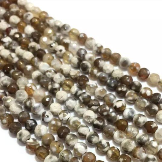 Agate Beads Brown Stone Color Round Faceted Size 4MM, 2 Strings
