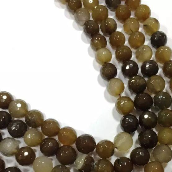 Agate Beads Brown Color Round Faceted Size 4MM, 2 Strings