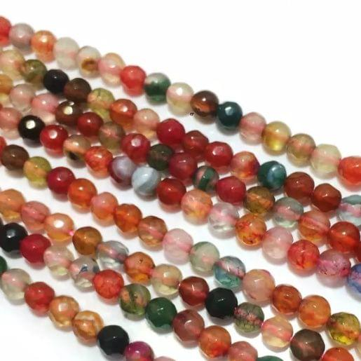 Agate Beads Turmalin Multi Color Round Faceted Size 4MM, 2 Strings