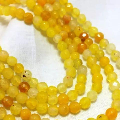 Agate Beads Yellow Color Round Faceted Size 4MM, 2 Strings