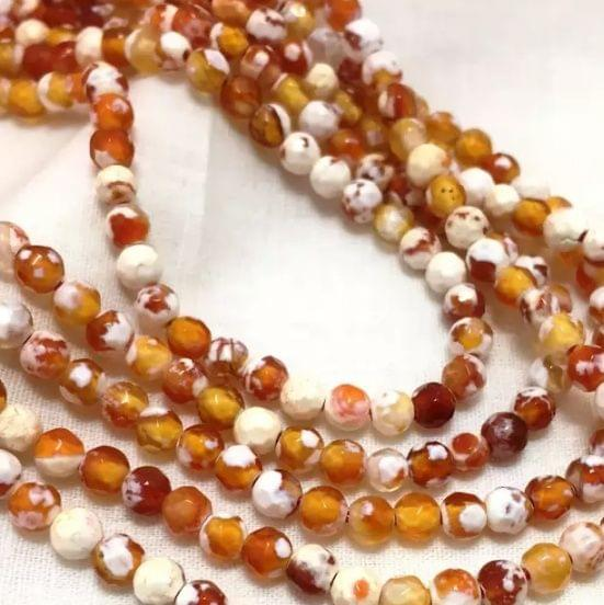 Agate Beads Orange Color Round Faceted Size 4MM, 2 Strings