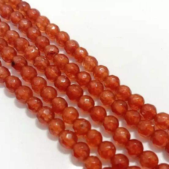 Dark Orange Agete Beads 4MM, 2 Strings