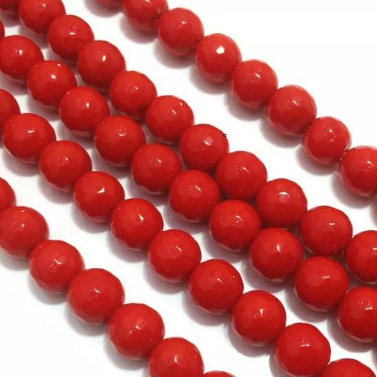 Red Agete Beads 4MM, 2 Strings