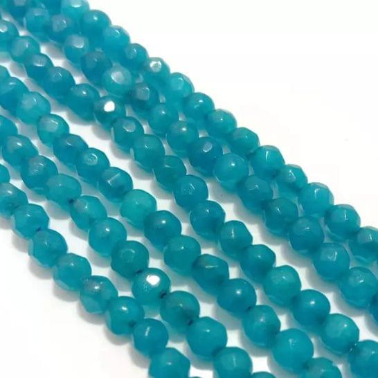 Sea Blue Agete Beads 4MM, 2 Strings