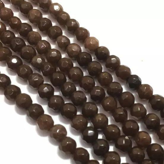 Brown Agete Beads 4MM, 2 Strings