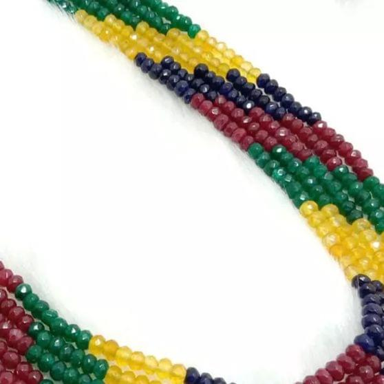 Multi Rondelle Facated Agete Beads 4mm, 2 Strings