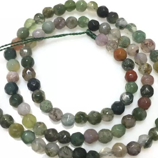 Shaded Green Color Agete Beads 4mm, 2 Strings
