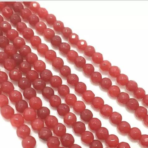 Red Color Agete Beads 4mm, 2 Strings