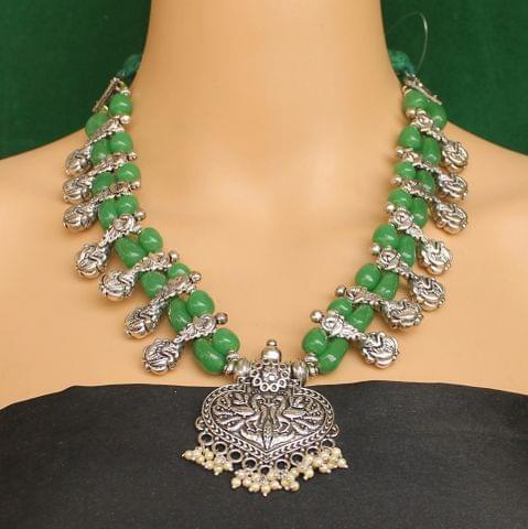 Ethnic Green Oxidised Handmade Necklace