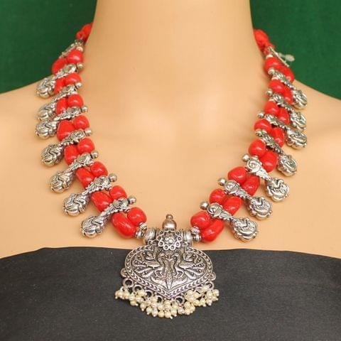 Ethnic Red Oxidised Handmade Necklace