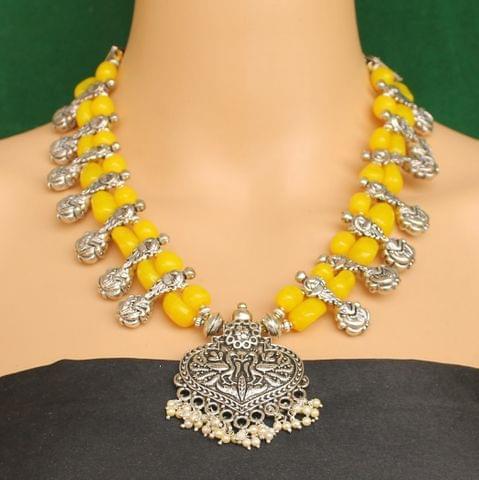 Ethnic Yellow Oxidised Handmade Necklace