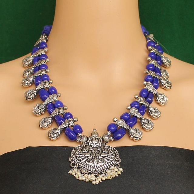 Ethnic Blue Oxidised Handmade Necklace