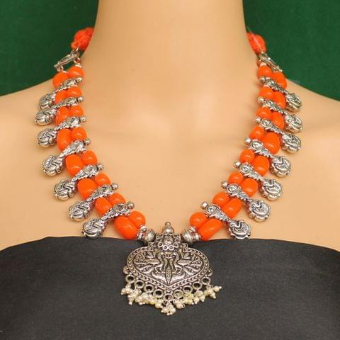 Ethnic Orange Oxidised Handmade Necklace