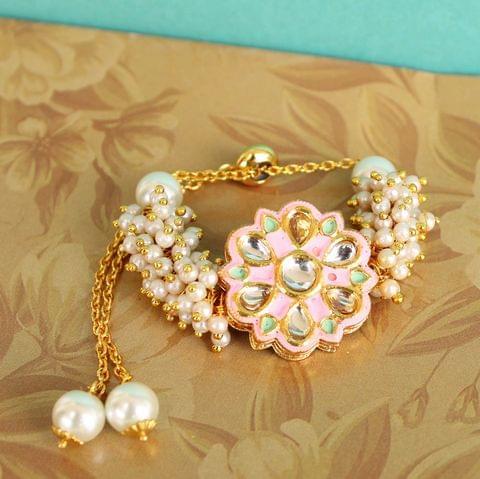 Jasmin Kundan Bracelets Pink