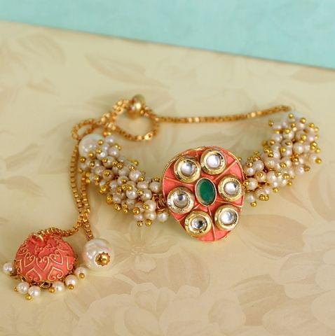 Jasmin Kundan Bracelets Orange