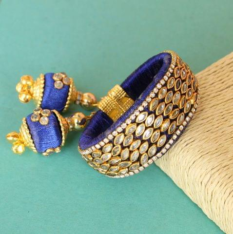 Silk Thread Mani Kundan Bracelet