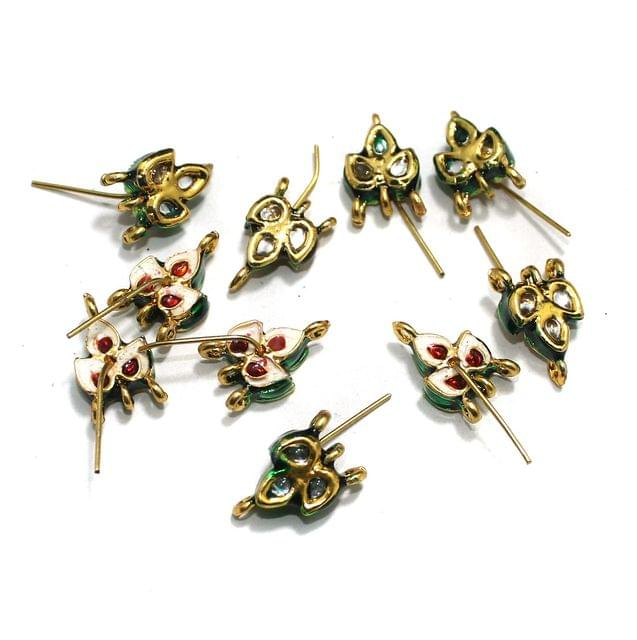 10 Pcs Kundan Earring Components, Size 20x10 mm