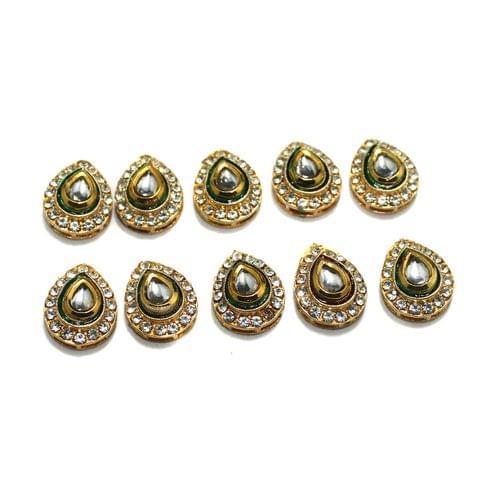 10 Pcs Drop Kundan Connnctor , Size 15x18 mm