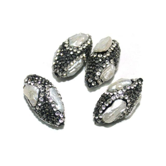 4 Pcs CZ Oval Beads, Size 27x15 mm