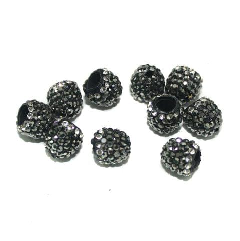 10 Pcs CZ Beads Caps, Size 12 mm