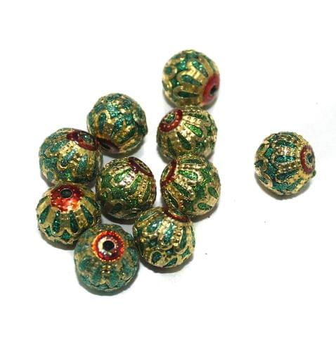 10 Pcs Meenakari Beads, Size 12 mm