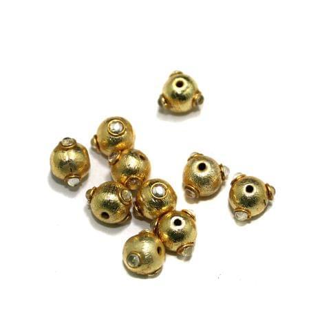 10 Pcs Metal Kundan Beads, Size 8 mm