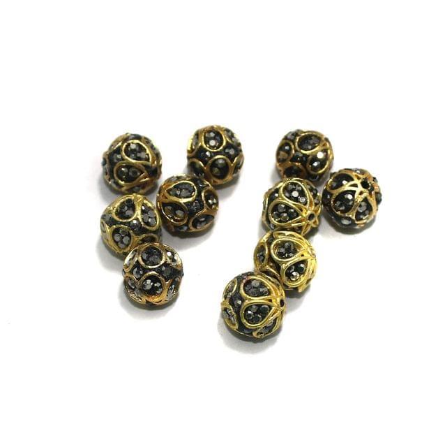 10 Pcs Round CZ Beads, Size 10 mm